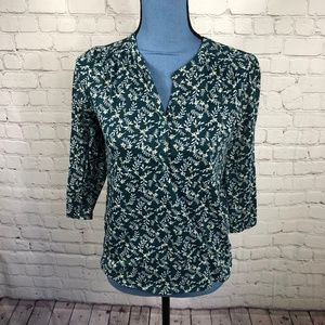 H&M Women's Teal Floral Blouse 3/4 Sleeve Size XS